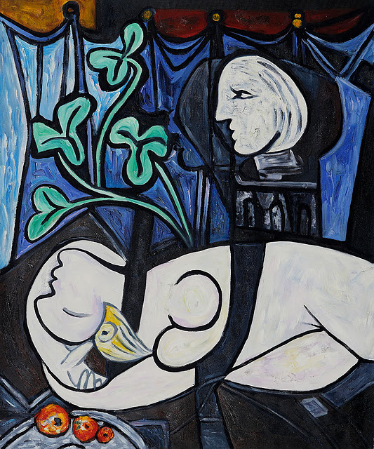 Nude, Green Leaves and Bust By Pablo Picasso