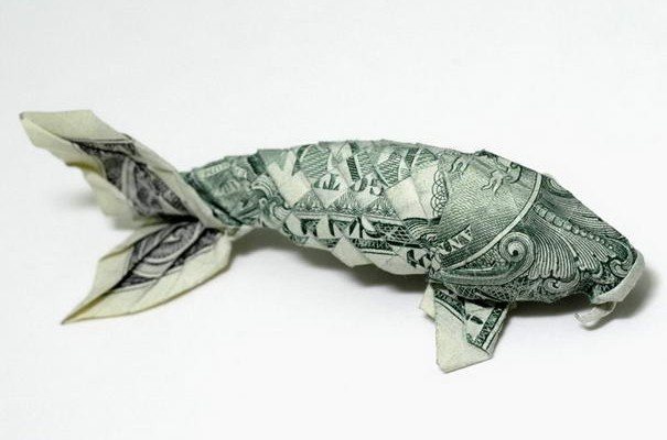 10 most incredible origami pieces by won park for Dollar bill koi