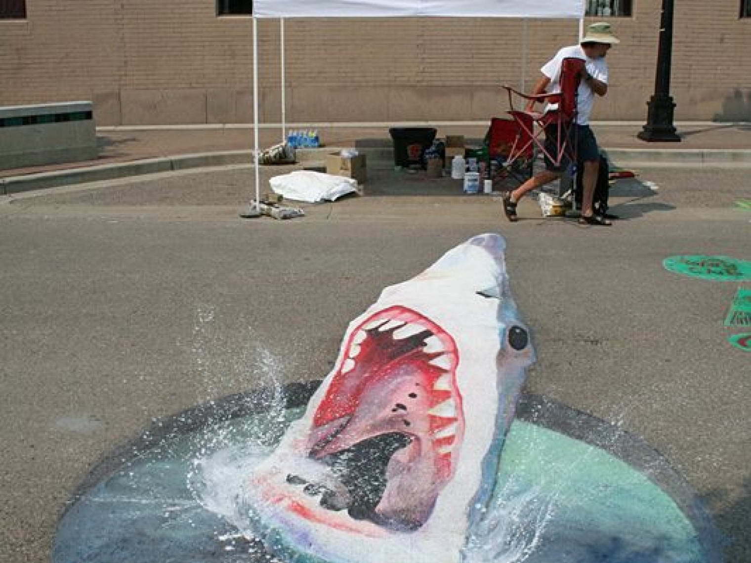 Sidewalk Art Shark
