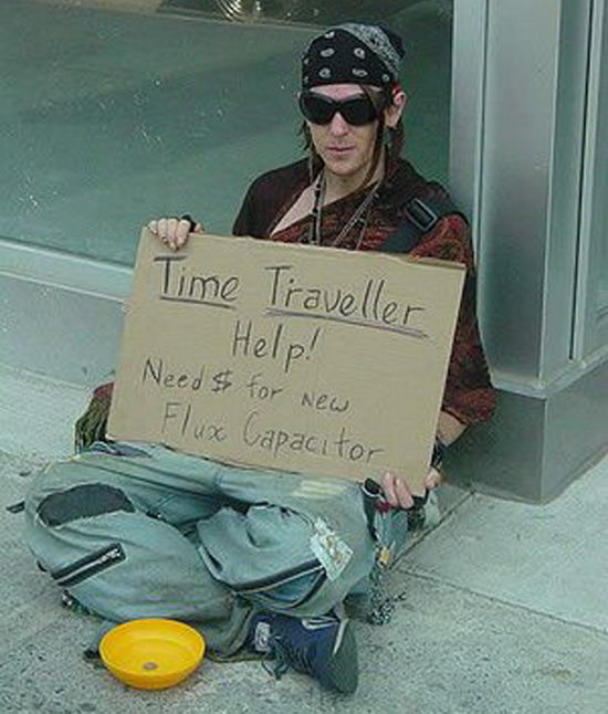 Time Traveler Intelligent Homeless Signs