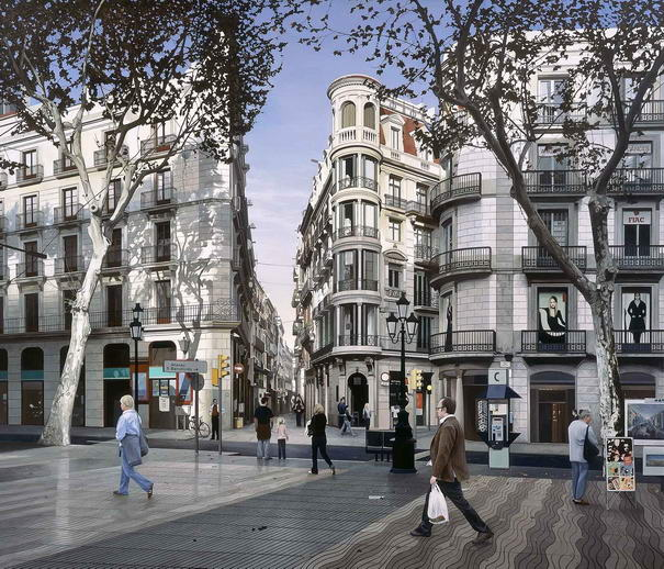 Barcelona city paintings