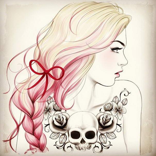Cleavage Skull Tattoo