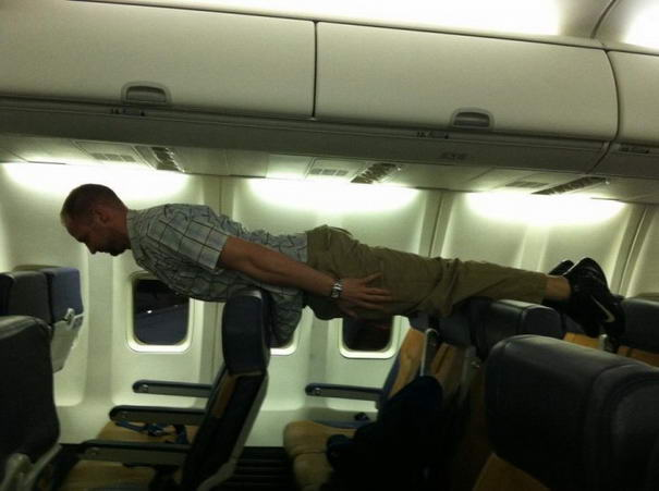 Planking In Airplane