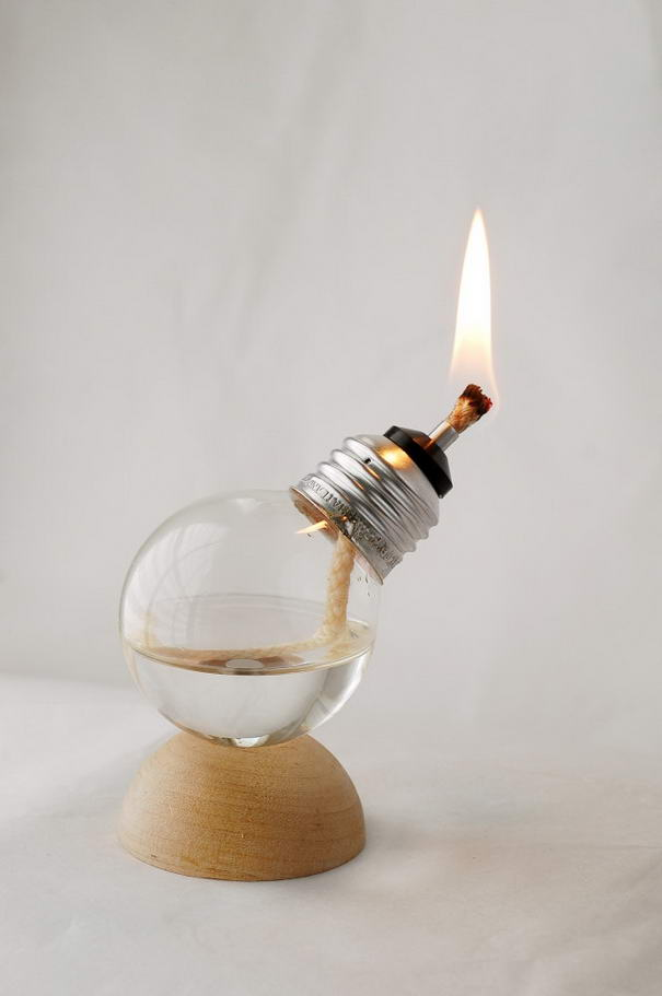 Recycled Light Bulb Oil Lamp
