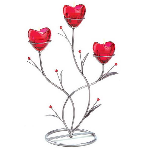 Red Heart Bouquet Candle Holder