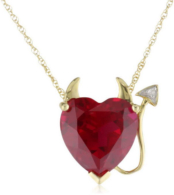 Ruby Heart Devil Pendant with Diamond Accent