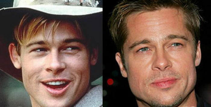 before and after photo of Brad Pitt