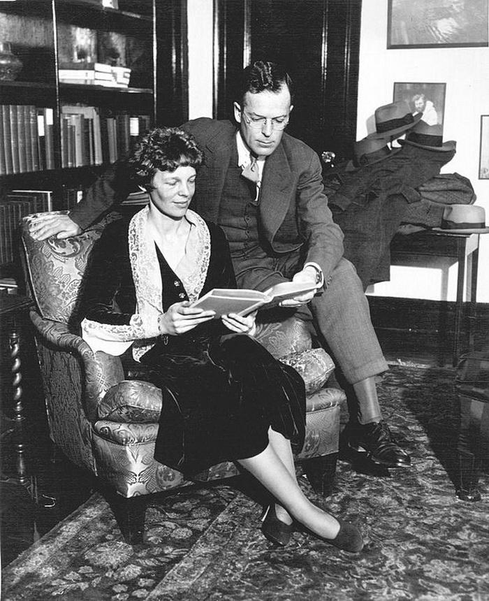 Amelia Earhart and husband George Putnam