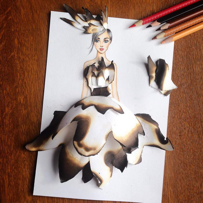Burnt paper dress