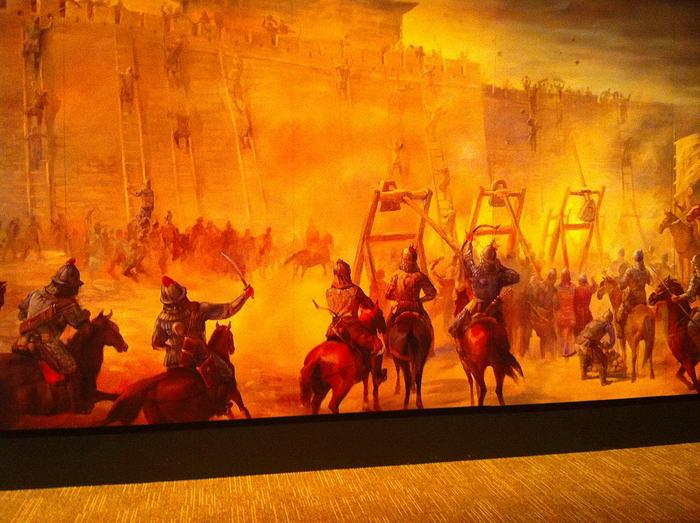 Mural of siege warfare
