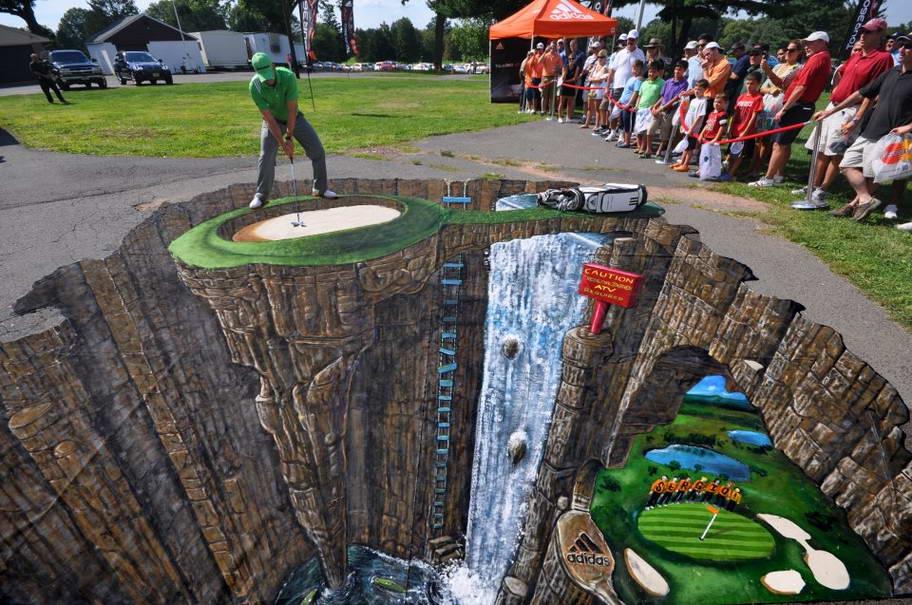 Sidewalk Art Golfer - Most Creative 3D Sidewalk Art