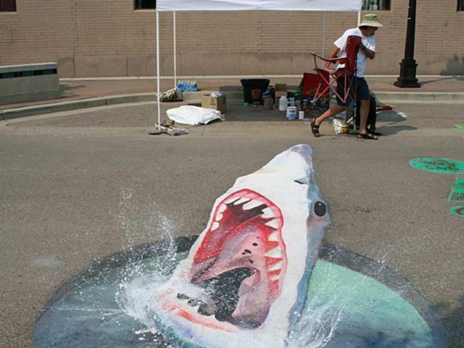 Sidewalk Art Shark
