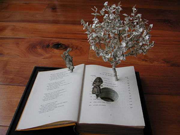 Down the Rabbit Hole Book Sculptures