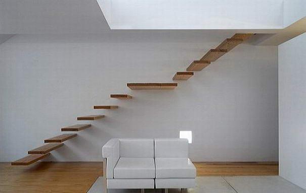 Wood staircase designed by Alvaro Leite Siza