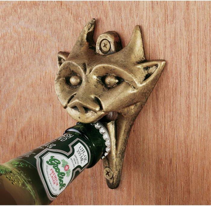 Authentic Gargoyle Bottle Opener in Antique Brass