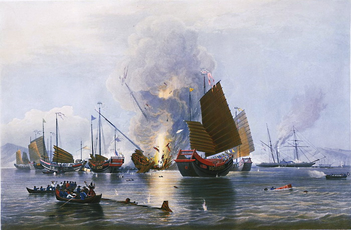 Destroying Chinese war junks