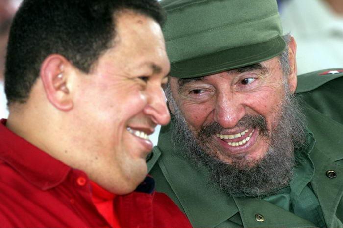 Fidel Castro with Hugo Chavez