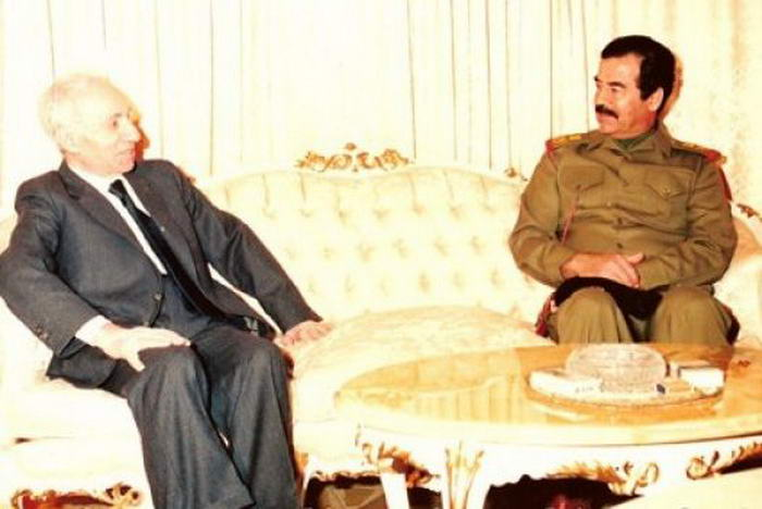 Michel Aflaq with Saddam Hussein