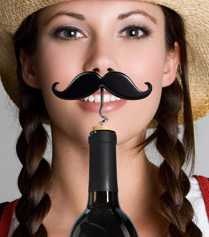 Mustache Corkscrew Bottle Opener