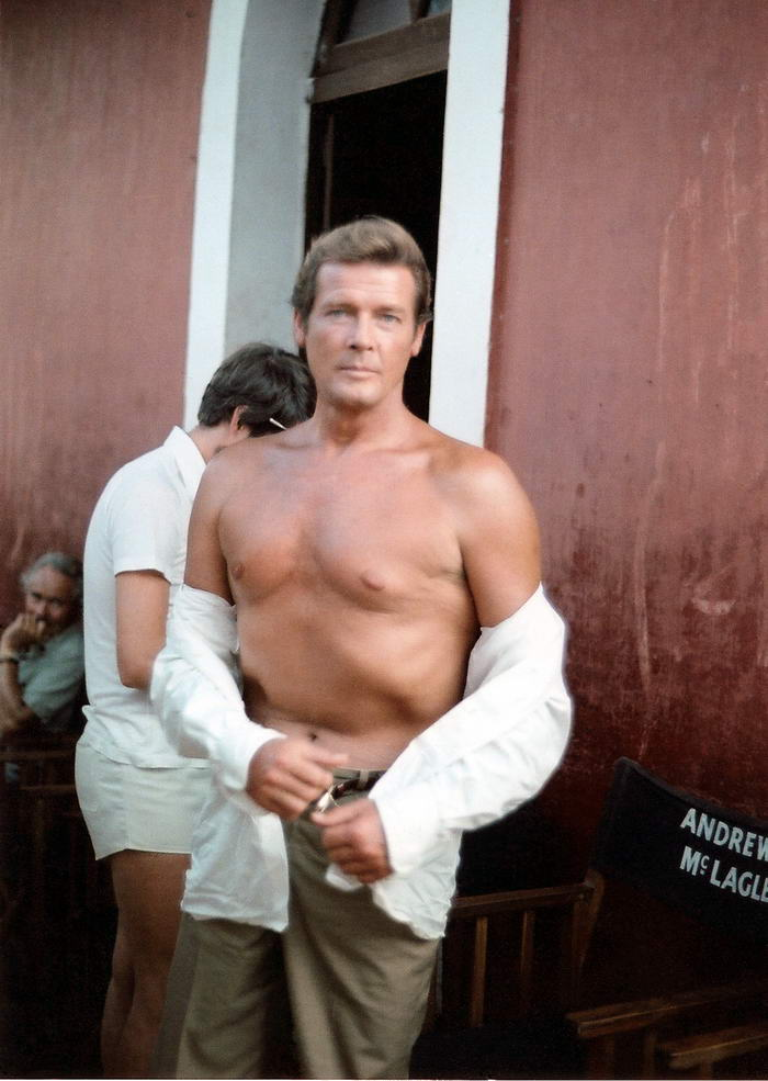 Roger Moore at the sets of Sea Wolves